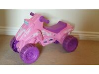 Girls Pink Plastic Ride On / Push Along Quad Bike