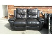 Black leather 2 + 3 recliner