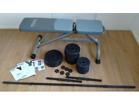 York Fitness Bench, Barbell, Dumbells and 32.5 kg of weights. Warranty, Manual, Tool Keys Included