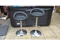 2 Two Bar Stools Stool Chair Black Chairs