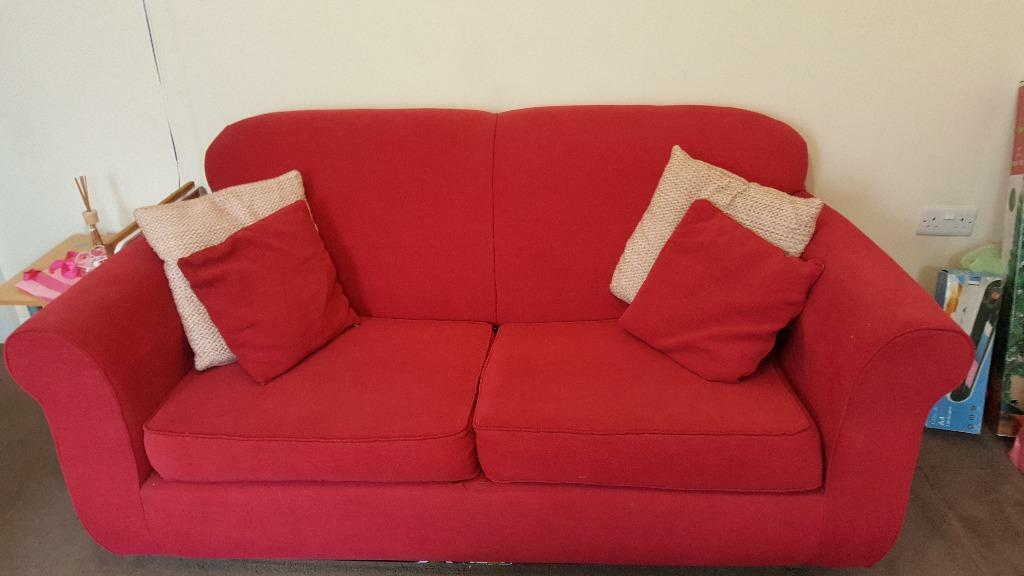 39 next 39 red double sofa bed with 2 sets of cushions in for Double bed and sofa set