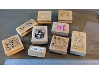 Craft room clear out - 9 wooden stamps - used but in good condition