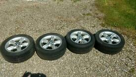 "Set of 4 four BMW 16"" alloys and tyres"