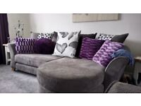 Four seater sofa with chaise long. In excellent condition, hardly used.