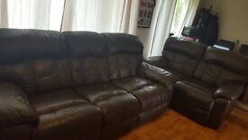 Genuine Leather Sofa (Brown) - 3 and 2 Seater Sofas which can be sold together or separately