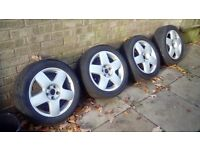 "volkswagon vw alloy wheels 5x100 15"" of polo 9n sport"