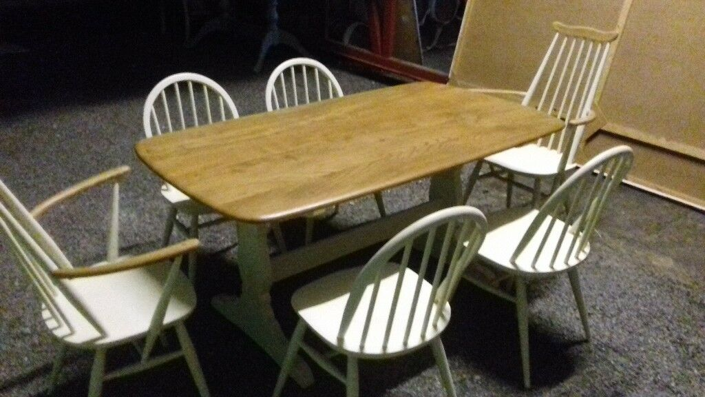A beautiful vintage solid wood ercol dining table