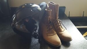 Riding boots and helmet