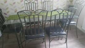 Cast iron glass dining set