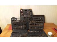 Drill and screwdriver bit set three trays in wheeled case