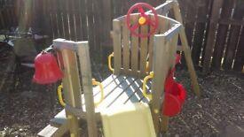 Outdoor swing and slide activity set