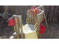 Outdoor swing and slide activity set