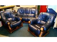 Real leather 3 piece suite