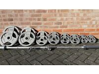 BODY POWER OLYMPIC WEIGHTS SET WITH 7FT or 6FT BAR