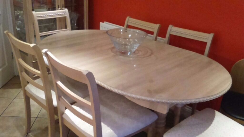 Limed oak dining room table and chairs and glass cabinet in hartlepool county durham gumtree - Limed oak dining tables ...