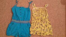 Girls 2 shorts onesies cotton 8-9Y
