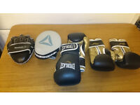 Boxing equipment, 2 pairs of gloves + hook and jab pads.