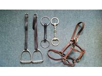 Horse Tack (horse riding equipment): stirrups, bits, and halter