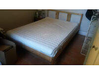 FREE Double pine Ikea bed with mattress