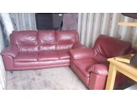 Red 3 seater and armchair sofa couch leather can deliver
