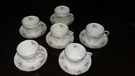 Duchess bone china 'Glen'-pattern . 6 cups with saucers for sale
