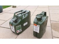 2 metal petrol cans 5 and 10 litre- little used. Will sell separately