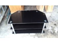 TV table black glass and chrome