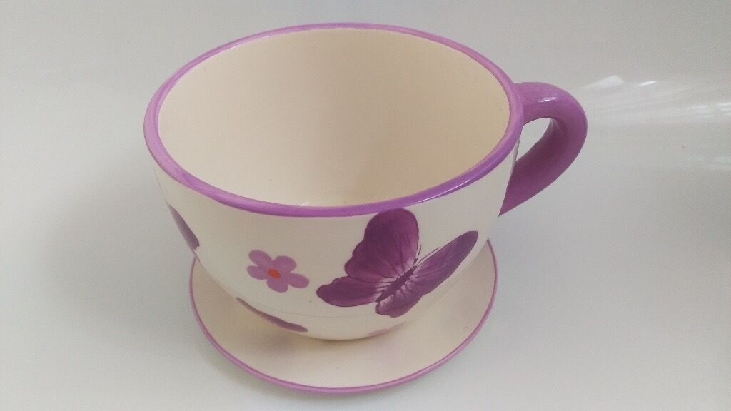 Ceramic Flower Pot Oversized Teacup And Saucer Planter 10 In