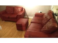 Red Leather Two Piece Suite 3 Seater Sofa (Settee), 2 Seater + Footstool