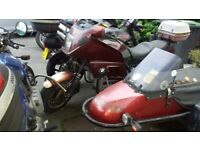 For sale BMW K100 RT with sidecar, D reg, 72000 miles, red/brown. Unused for 2/3 years. £1000