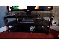 """BLACK GLASS TV STAND TAKES UP TO 50"""" TVs Free BUYER MUST UPLIFT EXCELENT CONDITION"""
