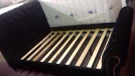 Brand new chesterfield sleigh effect 4.6ft double bed frame in black crushed velvet