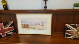 large watercolour painting of North Shields fish quay