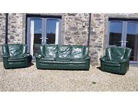 Dark green leather 3 piece suite . FREE