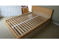 Ikea Malm Double Bed In Veneer Oak, In Excellent Coindition