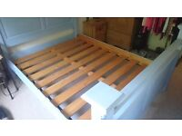 Kingsize Bed with Mattress - Whitewashed Duck Egg Blue