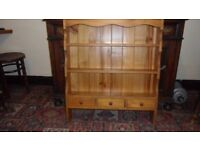 Pine Wall shelving and storage unit with 3 drawers