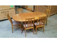 Danish Mid century retro Dining table and 6 chairs