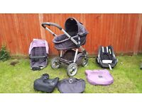 Icandy Apple travel system in Grape flavour with MaxiCosi carseat