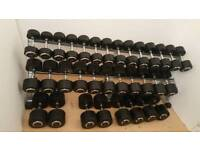 Dumbbells 17 pairs 10-50kgs with racj
