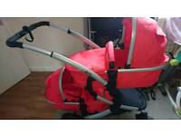 iSafe Tandem Double Stroller Buggy in Red