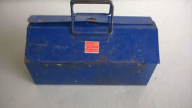 Tool Box and tools Old Vintage Barn Tool Box spanners