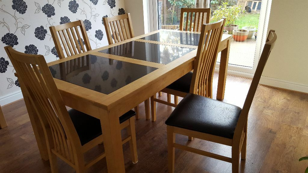 Solid Oak Black Granite Dining Room Table With 6 Chairs In
