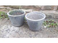 Two / Pair of Vintage Antique Style Concrete Garden Planters Plant Pots Grey Small