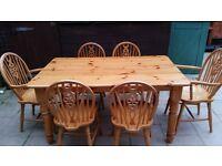 Farm House Pine Table + 6 Chairs