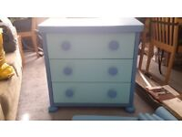Childrens blue chest of drawers and table