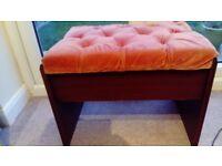 Vintage pink velvet dressing table stool