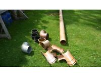 160mm x 6 meter Osma drainage pipe unused with fittings.