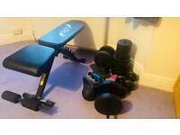 Opti fitness equipment - bench cast iron weights kettebells