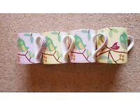 Set of 4 Pretty Queens China Bird Mugs